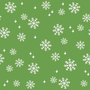 snowflake fabric, dog coordinates collection - asparagus green
