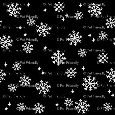 snowflake fabric, dog coordinates collection - black