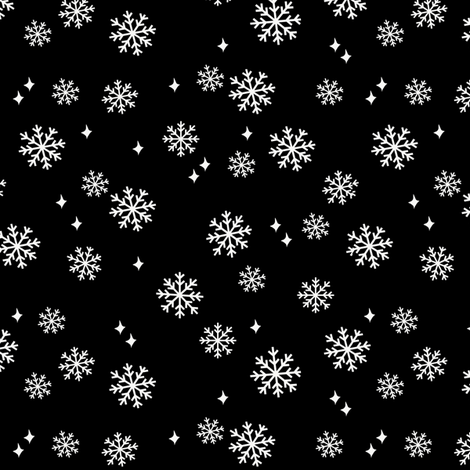 snowflake fabric, dog coordinates collection - black fabric by petfriendly on Spoonflower - custom fabric
