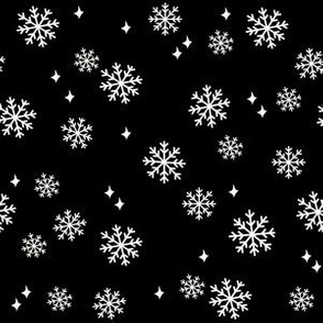 snowflake fabric, dog coordinates collection - black