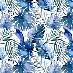 tropical plants in indigo