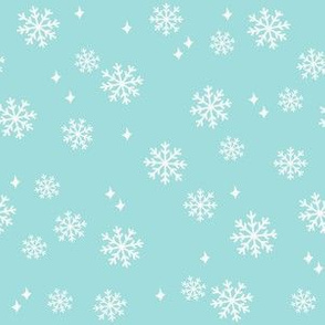 snowflake fabric, dog coordinates collection - light blue