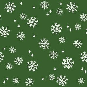 snowflake fabric, dog coordinates collection - dark green