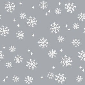 snowflake fabric, dog coordinates collection - grey