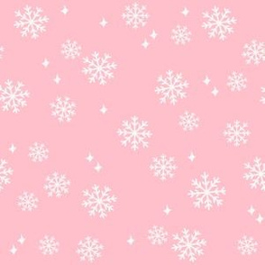 snowflake fabric, dog coordinates collection - pink