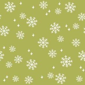 snowflake fabric, dog coordinates collection - lime green