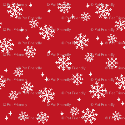 snowflake fabric, dog coordinates collection - red