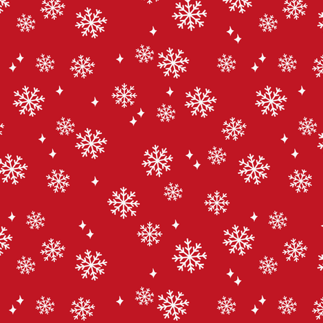 snowflake fabric, dog coordinates collection - red fabric by petfriendly on Spoonflower - custom fabric