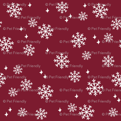snowflake fabric, dog coordinates collection - ruby