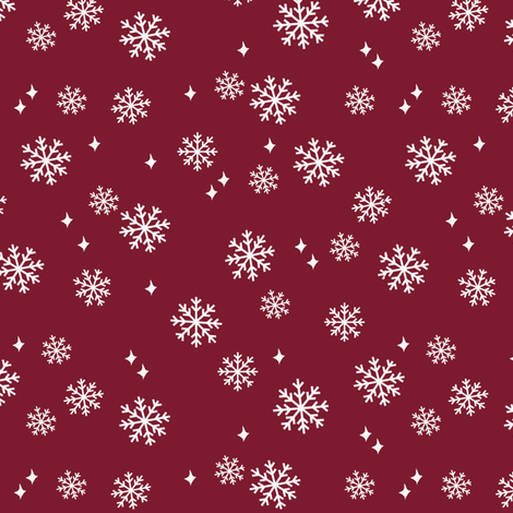 snowflake fabric, dog coordinates collection - ruby fabric by petfriendly on Spoonflower - custom fabric