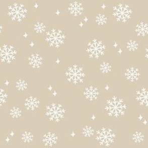 snowflake fabric, dog coordinates collection - sand