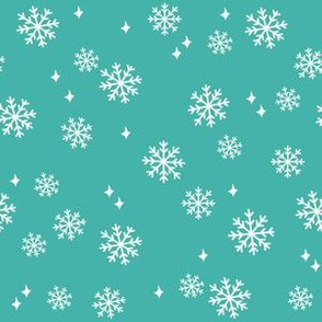 snowflake fabric, dog coordinates collection - turquoise
