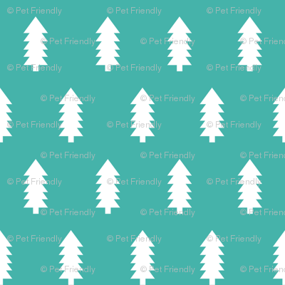 christmas trees fabric, dog coordinate collection - turquoise