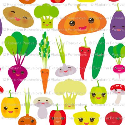 vegies kawaii vegetables bell peppers, pumpkin beets carrots, eggplant, red hot peppers, cauliflower, broccoli, potatoes, mushrooms, cucumber, onion, garlic, tomato, radish white background. illustration