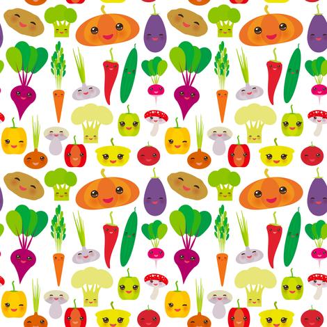 vegies kawaii vegetables bell peppers, pumpkin beets carrots, eggplant, red hot peppers, cauliflower, broccoli, potatoes, mushrooms, cucumber, onion, garlic, tomato, radish white background. illustration fabric by ekaterinap on Spoonflower - custom fabric