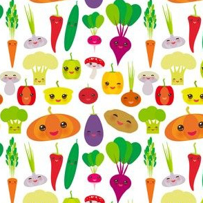 vegies kawaii vegetables bell peppers, pumpkin beets carrots, eggplant, red hot peppers, cauliflower, broccoli, potatoes, mushrooms, cucumber, onion, garlic, tomato, radish white background. illustration