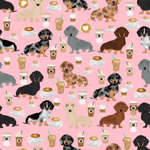 dachshund coffee fabric, coffees and lattes fabric - pink