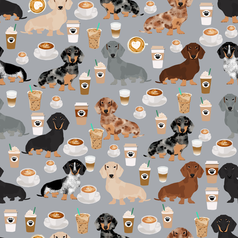 dachshund coffee fabric, coffees and lattes fabric - grey fabric by petfriendly on Spoonflower - custom fabric