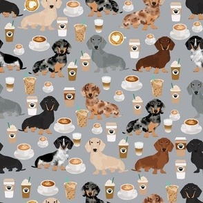 dachshund coffee fabric, coffees and lattes fabric - grey