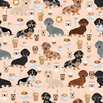 dachshund coffee fabric, coffees and lattes fabric - blush