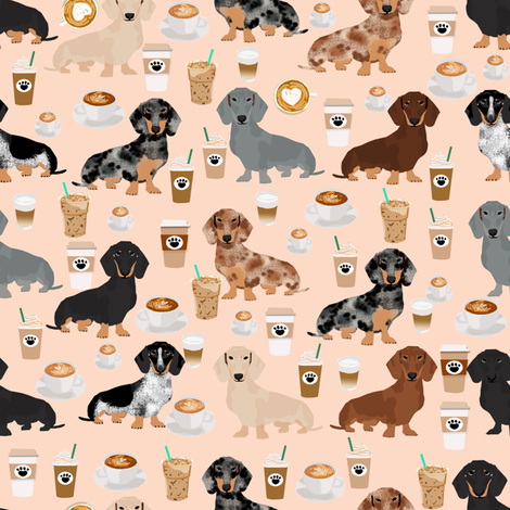 dachshund coffee fabric, coffees and lattes fabric - blush fabric by petfriendly on Spoonflower - custom fabric
