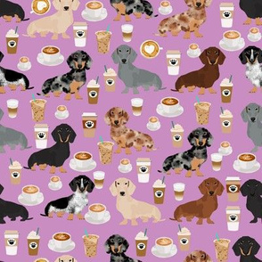 dachshund coffee fabric, coffees and lattes fabric - purple