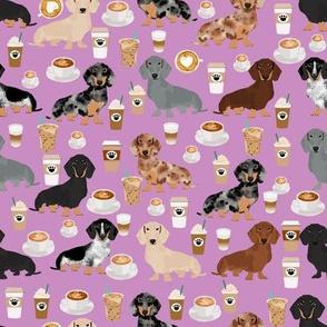 dachshund coffee fabric, coffees and lattes fabric - purple