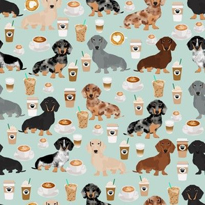 dachshund coffee fabric, coffees and lattes fabric - light