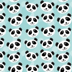 kawaii Panda pattern with funny cute animal face on a blue background