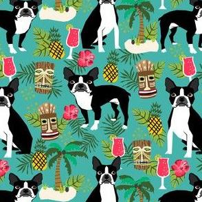 boston terrier tiki fabric, palm trees summer design - turquoise
