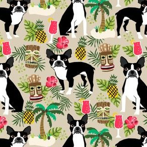 boston terrier tiki fabric, palm trees summer design - sand