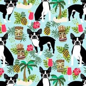 boston terrier tiki fabric, palm trees summer design - light blue
