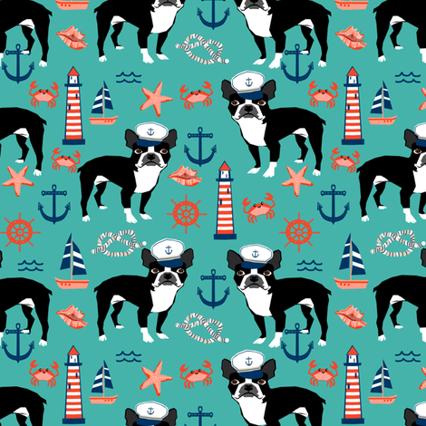 boston terrier dog fabric, nautical summer lighthouse design - turquoise fabric by petfriendly on Spoonflower - custom fabric