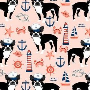 boston terrier dog fabric, nautical summer lighthouse design - peach
