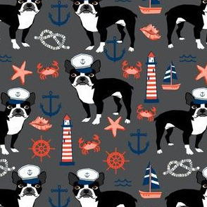 boston terrier dog fabric, nautical summer lighthouse design - charcoal