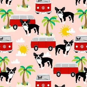 boston terrier summer fabric, hippie bus palm trees design - peach