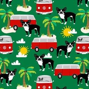 boston terrier summer fabric, surfing dog palm tree tropical design - green
