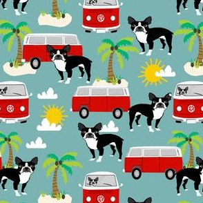 boston terrier summer fabric, hippie bus palm trees design - gulf blue
