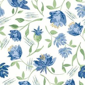 Watercolor flowers Blue