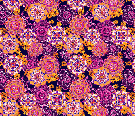 Mandala Medley Orange Purple fabric by katebillingsley on Spoonflower - custom fabric