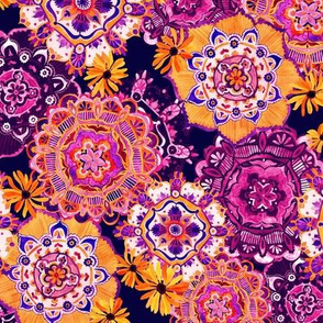 Mandala Medley Orange Purple