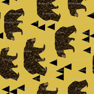 geometric bear fabric // andrea lauren fabric mustard bear camping triangles fabric