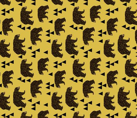 geometric bear fabric // andrea lauren fabric mustard bear camping triangles fabric fabric by andrea_lauren on Spoonflower - custom fabric