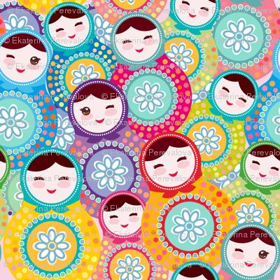 Nesting doll matrioshka Russian dolls , pink blue green colors colorful bright, seamless pattern. illustration