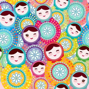 Nesting doll matrioshka Russian dolls , pink blue green colors colorful bright, seamless pattern. illustration