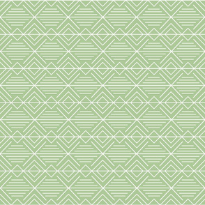 Geometric Diamond Lines - Light Green and White