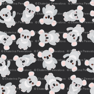 Funny cute koala on black background. illustration