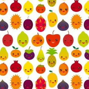 Exotic fruits funny kawaii fruit Pear Mangosteen tangerine pineapple papaya persimmon pomegranate lime apricot plum dragon fruit figs mango peach lemon lychee apple kiwano isolated on white. illustration