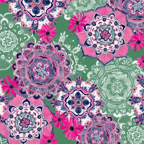 Mandala Medley Pink and Green