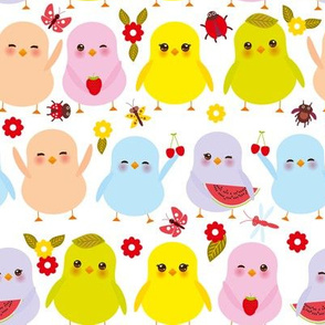 summer birds. Kawaii colorful blue green orange pink yellow chick with pink cheeks and winking eyes, pastel colors on white background. illustration